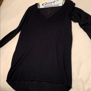 Black long sleeve sheer sweater with hole details